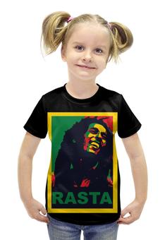 """Футболка с полной запечаткой для девочек """"Боб Марли (Bob Marley)"""" - регги, боб марли, bob marley"""