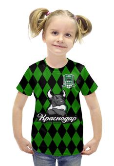 """Футболка с полной запечаткой для девочек """"Краснодар ПФК"""" - футбол, клуб, эмблема, краснодар"""