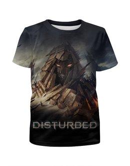 """Футболка с полной запечаткой для девочек """"Disturbed"""" - хард-рок, метал, disturbed"""