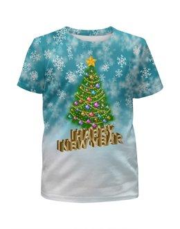 """Футболка с полной запечаткой для девочек """"Новый год"""" - праздник, новый год, зима, снежинки, елка"""