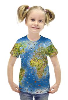 """Футболка с полной запечаткой для девочек """"WORLD MAP"""" - планета, карта, world, map, карта мира"""