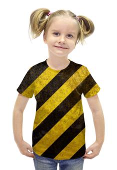 """Футболка с полной запечаткой для девочек """"Полосы"""" - чёрный, жёлтый, полосы, диагональ"""