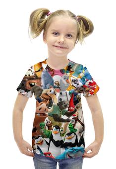 """Футболка с полной запечаткой для девочек """"Cartoons"""" - мультфильм, для детей, рапунцель, pixar, зверополис"""
