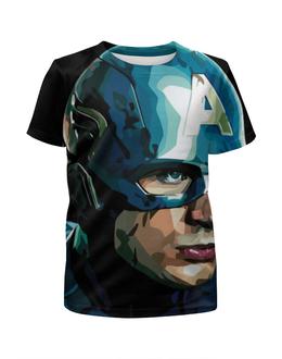 """Футболка с полной запечаткой для девочек """"Капитан Америка"""" - marvel, мстители, железный человек, капитан америка, первый мститель"""