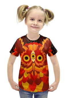 """Футболка с полной запечаткой для девочек """"Осенняя сова #2"""" - листья, осень, лес, сова, акварель"""