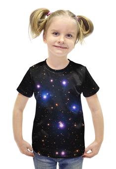 """Футболка с полной запечаткой для девочек """"Космос (space)"""" - space, звезды, космос, вселенная, галактика"""