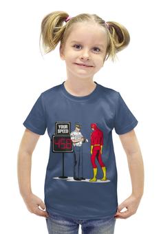 """Футболка с полной запечаткой для девочек """"flash"""" - flash, комиксы, dc, флэш"""