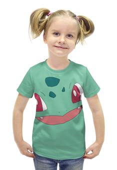 """Футболка с полной запечаткой для девочек """"Бульбазавр"""" - нинтендо, pokemon, bulbasaur, покемон го"""
