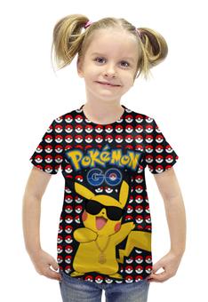 """Футболка с полной запечаткой для девочек """"Pokemon GO"""" - игра, покемон, пикачу, доллар, pikachu"""