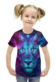 """Футболка с полной запечаткой для девочек """"Цветной лев"""" - животные, лев"""
