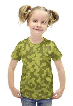 """Футболка с полной запечаткой для девочек """"Бежево-Коричневый Камуфляж"""" - армия, камуфляж, camouflage, военный, бежево коричневый камуфляж"""