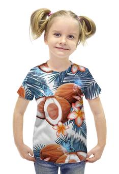"""Футболка с полной запечаткой для девочек """"Кокосы"""" - фрукты, рисунок, тропики, кокосы"""