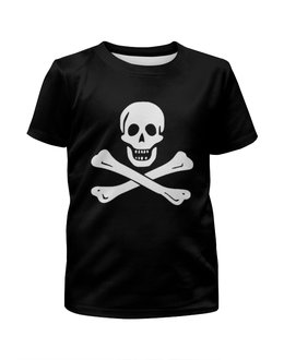 """Футболка с полной запечаткой для девочек """"""""Весёлый Роджер - Jolly Roger"""""""" - череп, пираты, пиратский флаг, jolly roger, весёлый роджер"""