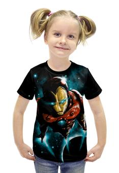 """Футболка с полной запечаткой для девочек """"Железный человек"""" - комиксы, супергерои, абстракция, iron man, железеый человек"""