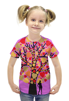 """Футболка с полной запечаткой для девочек """"Дерево любви"""" - сердце, любовь, дерево, tree, пора любви"""