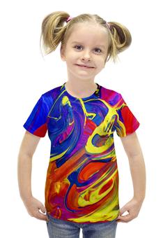 """Футболка с полной запечаткой для девочек """"Яркие краски"""" - разноцветный, яркий, хиппи, краска, пестрый"""