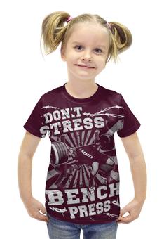 """Футболка с полной запечаткой для девочек """"Bench Press"""" - спорт, бодибилдинг, культурист, арт дизайн, штанга"""