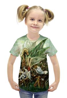 """Футболка с полной запечаткой для девочек """"На ветвях Дракона"""" - арт, авторские майки, дракон, зеленый, фантазия"""