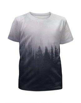 """Футболка с полной запечаткой для девочек """"Туман в лесу"""" - лес, forest, туман, fog"""