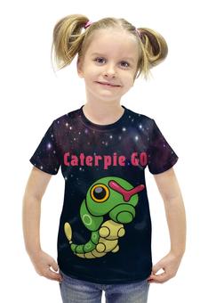 """Футболка с полной запечаткой для девочек """"PoKeMon Caterpie """" - гусеница, pokemon, покемон, катерпи, caterpie"""
