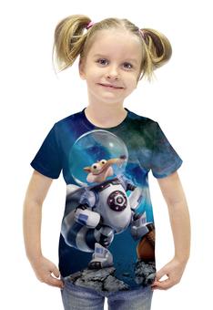 """Футболка с полной запечаткой для девочек """"Scrat"""" - планета, ледниковый период, ice age, белка, орех"""