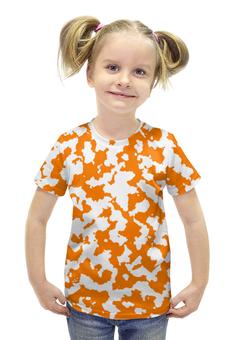 """Футболка с полной запечаткой для девочек """"Камуфляж Бело-Оранжевый"""" - армия, камуфляж, camouflage, военный, бело оранжевый камуфляж"""