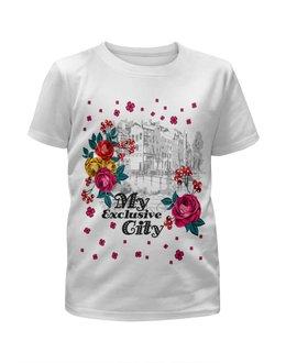 """Футболка с полной запечаткой для девочек """"Город"""" - цветы, город"""