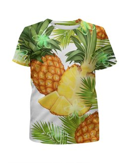 """Футболка с полной запечаткой для девочек """"Ананасы"""" - фрукты, рисунок, тропики, ананасы"""