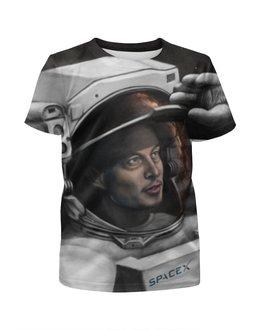 """Футболка с полной запечаткой для девочек """"SpaceX"""" - космос, вселенная, thespaceway, spacex, маск"""