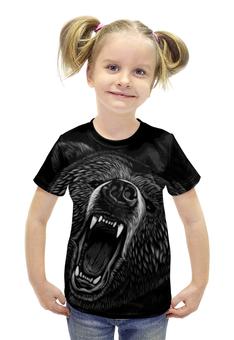 """Футболка с полной запечаткой для девочек """"Медведь"""" - животные, медведь, оскал, гризли"""