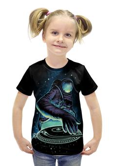 """Футболка с полной запечаткой для девочек """"Космический Диджей"""" - музыка, космос, галактика, диджей, космонавт"""