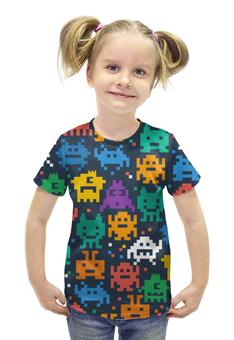 """Футболка с полной запечаткой для девочек """"Монстры пиксели"""" - minecraft, pacman, pixel art, пиксели"""