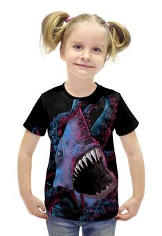"""Футболка с полной запечаткой для девочек """"Акула vs Осьминог"""" - ктулху, осьминог, акула"""