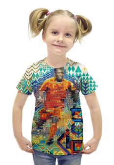 """Футболка с полной запечаткой для девочек """"Футбольная мозайка"""" - арт, африка"""