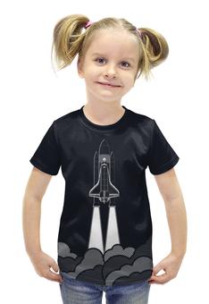 """Футболка с полной запечаткой для девочек """"Космический Корабль"""" - space, космос, ракета, шатл"""