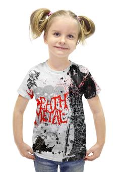"""Футболка с полной запечаткой для девочек """"Death Metal (Смерть)"""" - череп, metal, скелет, смерть, металл"""