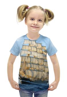 """Футболка с полной запечаткой для девочек """"Барк Крузенштерн"""" - крузенштерн, барк, учебное судно"""