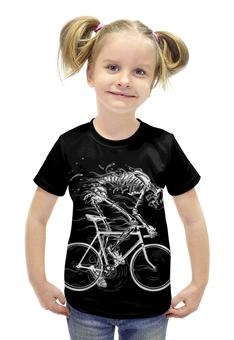 """Футболка с полной запечаткой для девочек """"Skeleton Biker"""" - skeleton, скелет, велоспорт, biker, велосипедист"""