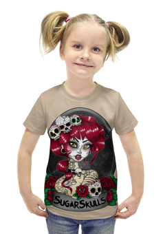 """Футболка с полной запечаткой для девочек """"Sugar skull girl"""" - skull, череп, девушка, girl, арт дизайн"""