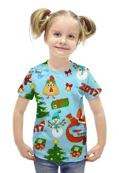 """Футболка с полной запечаткой для девочек """"Новогодний и яркий"""" - праздник, новый год, дед мороз, елка"""