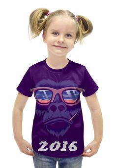 """Футболка с полной запечаткой для девочек """"СИМВОЛ ГОДА 2016!!!"""" - прикол, очки, обезьяна, символ, цифры"""