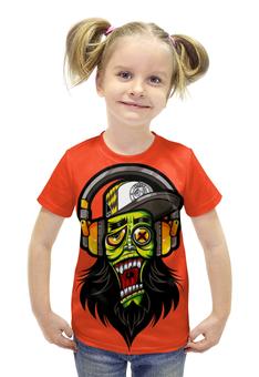 """Футболка с полной запечаткой для девочек """"Зомби меломан"""" - музыка, череп, zombie, зомби, наушники"""