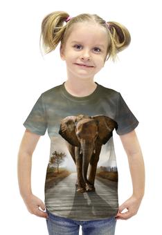 """Футболка с полной запечаткой для девочек """"Саванный слон"""" - слон, красивый, необычный"""