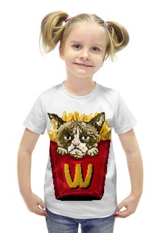 """Футболка с полной запечаткой для девочек """"Grumpy cat"""" - прикол, юмор, котик, grumpy cat"""