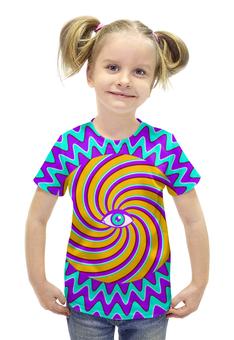 """Футболка с полной запечаткой для девочек """"HYPNO EYE"""" - арт, дизайн, графика, optical illusion, оптическая иллюзия"""
