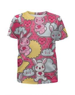 """Футболка с полной запечаткой для девочек """"Зайцы аниме"""" - аниме, заяц аниме, кролик аниме, облако аниме"""