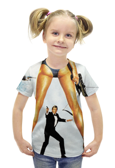 """Футболка с полной запечаткой для девочек """"Джеймс Бонд"""" - 007, james bond, агент 007, джеймс бонд"""
