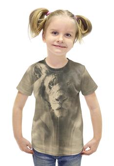 """Футболка с полной запечаткой для девочек """"песчаный лев"""" - животные, лев"""
