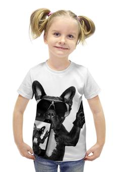 """Футболка с полной запечаткой для девочек """"Селфи Пес"""" - прикол, юмор, прикольные, собака, селфи"""