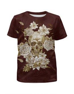 """Футболка с полной запечаткой для девочек """"Day of the Dead"""" - череп, цветы, рок, кости"""